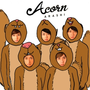 "Spoof of the 1st pressing cover of Arashi's album ""Popcorn,"" made as a birthday card for a friend who loves Arashi and squirrels."