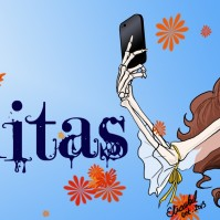 "La Calavera Catrina takes a selfie in this modern vanitas. The font is ""A Lolita Scorned"" by Jovana Gaspar. (October 2013, Digital)"