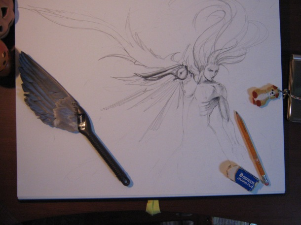 I just wanted to draw muscles and hair and wings. Maybe I'll finish this someday, ahaha... (October 2011)
