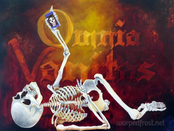 Inspired by La Calavera Catrina and Dutch vanitas paintings. Exhibited at Wayne State University's 2015 Art Education & Art Therapy show. (Acrylic on canvas, 2014)