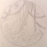 "Sketch for an ""ezara,"" or a decorated plate. I must have been reading Sartre at the time. (March 2011)"