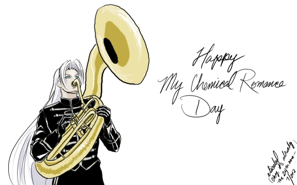 "The result of a deep, philosophical debate about what musical instrument Sephiroth would play. Of course, I said ""sousaphone,"" and it just happened to be My Chemical Romance Day. (July 23, 2012)"