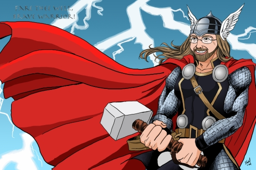 Done as a favor to a friend. Her boss was a Thor fan; she had this printed out as a poster at his retirement party. (June 2009)