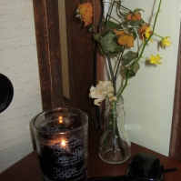 "A still life I put together for an over the top GACKT viewing party that I called ""Les Fleurs du Mal"" (July 2011)"