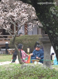 At Kyokusui no En, participants write poems and drink from sake cups that come floating down the stream (March 2010)