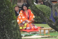 """A """"princess"""" sits down to participate in Kyokusui no En, an annual festival first popular in the Heian Era (794-1185), hence the style of her kimono (March 2010)"""