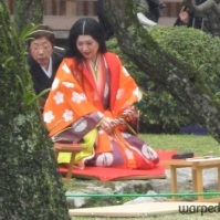 "A ""princess"" sits down to participate in Kyokusui no En, an annual festival first popular in the Heian Era (794-1185), hence the style of her kimono (March 2010)"