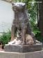 The faithful dog Hachi-ko guarding some cats at his spot in Shibuya. (May 2016)