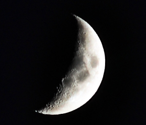 Photo of a crescent moon close to setting