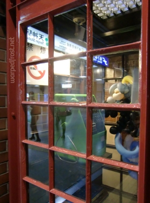 Balloon Seph in a British style red phone booth