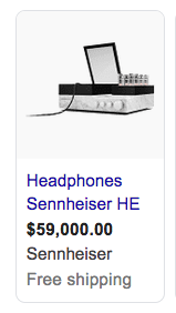 Screenshot showing the Sennheiser HE Headphones, priced at $59,000. It's really a heaphones plus tube amp set up.