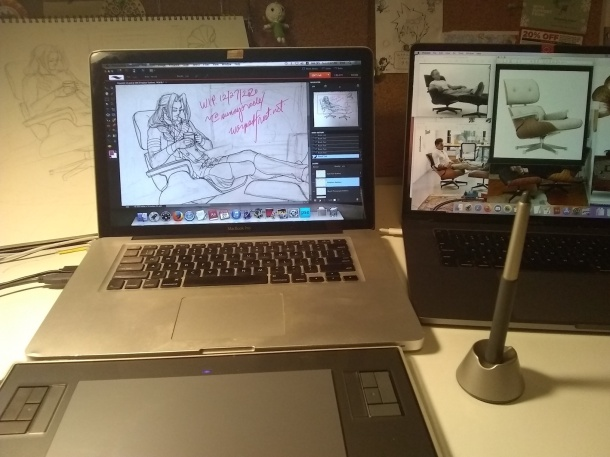 Photograph showing two MacBook Pro laptops and an old Wacom tablet. The old laptop has Photoshop and the line drawing open, while the new one displays reference images, mostly Eames lounge chairs.