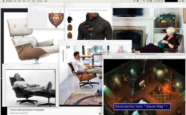 Screenshot showing various references photographs, including Eames chairs, a fancy sconce, a man in a cozy sweater, and a screen from the original FFVII in Icicle Inn.