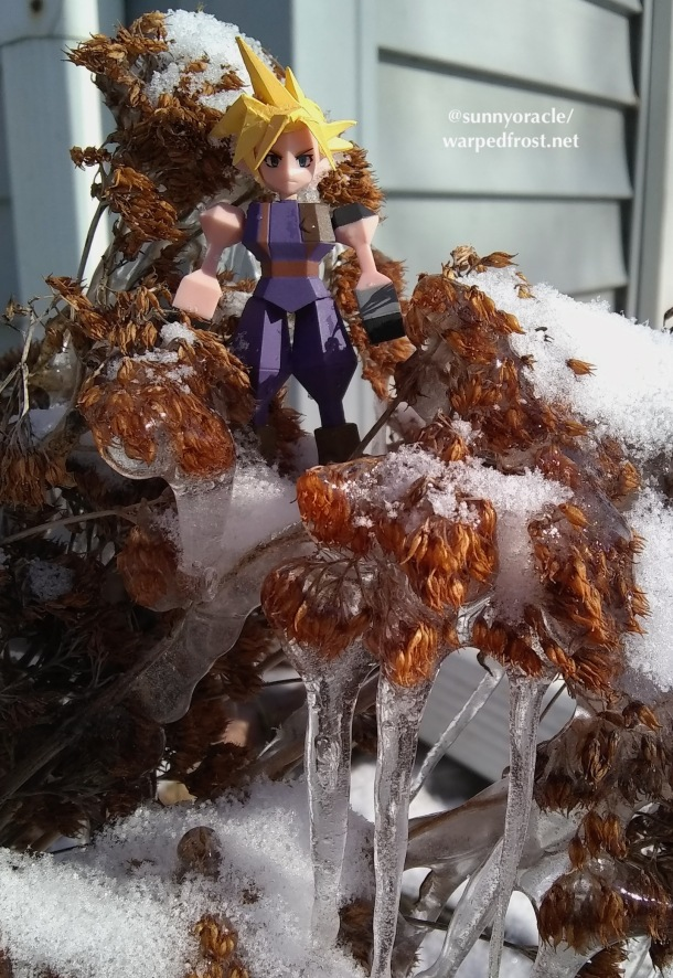 Another photo of the Cloud Polygon figure sitting in the frozen sedum.