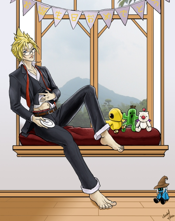 Cloud Strife sitting in a bay window dressed in a 3-piece suit holding an empty plate and rubbing his belly like he's full.