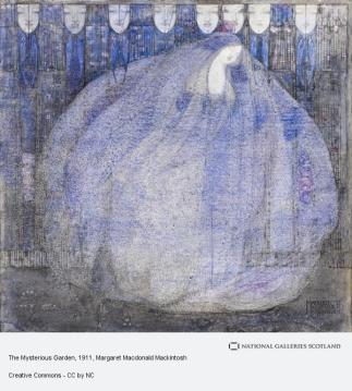 A square watercolor painting. Nearly the entire picture plane is taken up by a round blue figure which appears to be composed of the hair of a woman. Above her are eight faces with peaceful and/or sleep expressions. The painting is by Margaret Macdonald Mackintosh and is entitled Mysterious Garden.