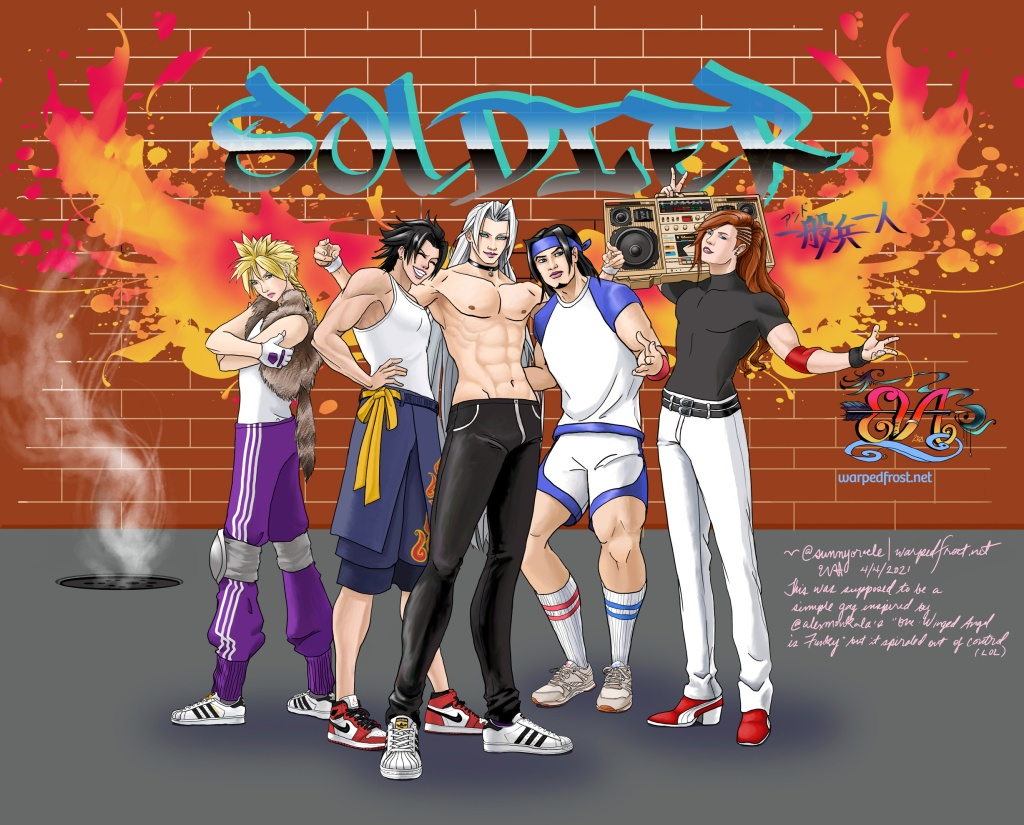 "Cloud, Zack, Sephiroth, Angeal, and Genesis pose together like b-boys. Genesis has the boombox. In the background is a brick wall with graffiti reading ""SOLDIER アンド一般兵一人"" on top of splash-paint style wings as well as my own tag."