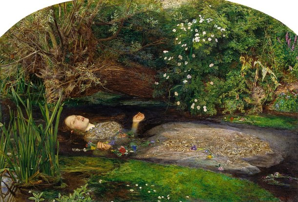 This depiction of Ophelia shows a woman in a white dress floating face-up in a stream, surrounded by flowers that she must have brought, the slanted willow tree Queen Gertrude mentions, and other vegetation.